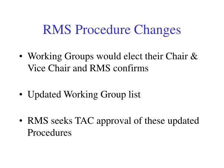RMS Procedure Changes