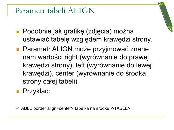 Parametr tabeli ALIGN