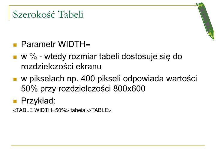 Szerokość Tabeli
