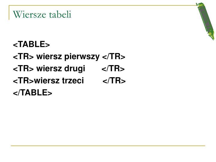 Wiersze tabeli