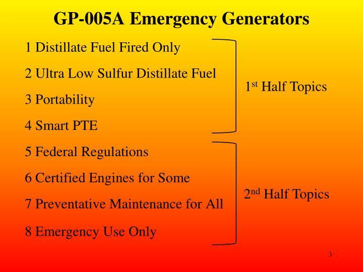 GP-005A Emergency Generators