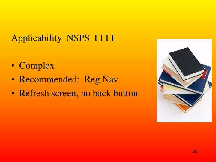Applicability  NSPS