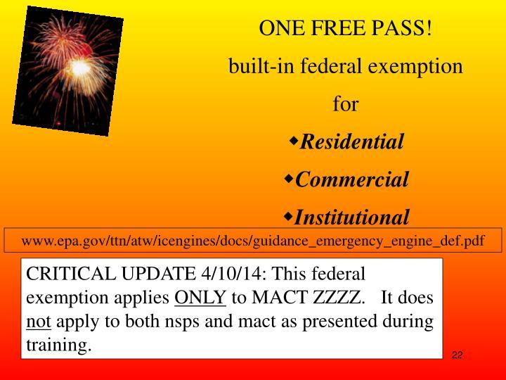ONE FREE PASS!