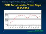 pcm tons used in trash bags 1993 2006