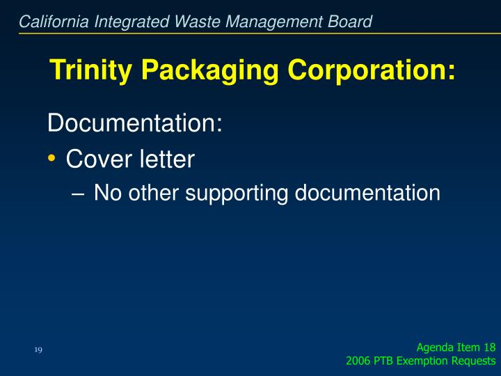 Trinity Packaging Corporation: