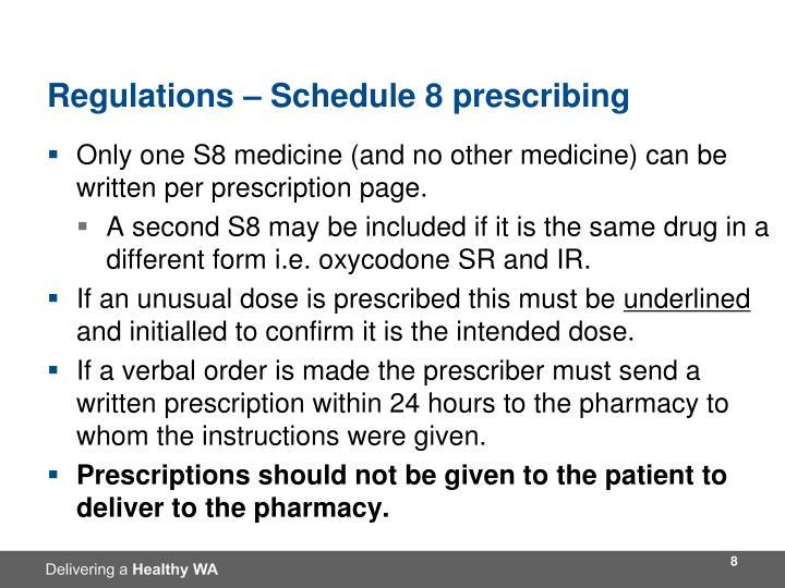 Regulations – Schedule 8 prescribing