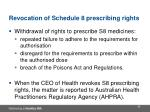 revocation of schedule 8 prescribing rights