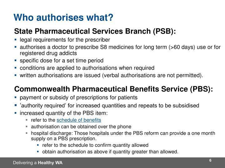 Who authorises what?
