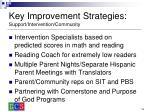 key improvement strategies support intervention community