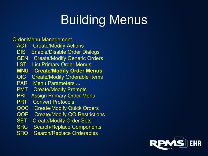Building Menus