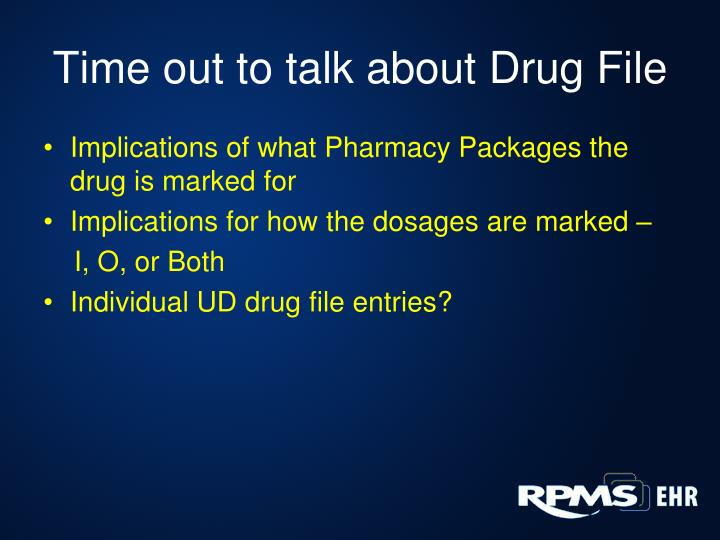 Time out to talk about Drug File