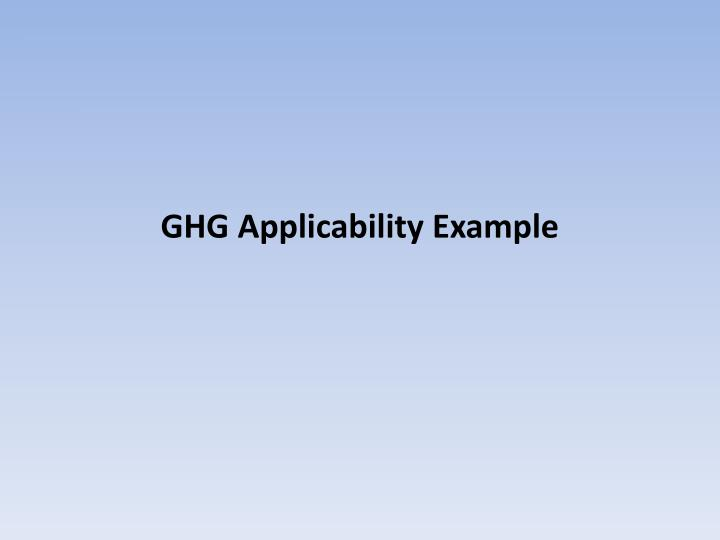 GHG Applicability Example