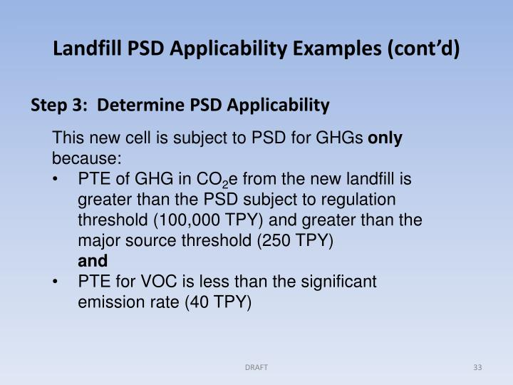 Landfill PSD Applicability Examples (cont'd)