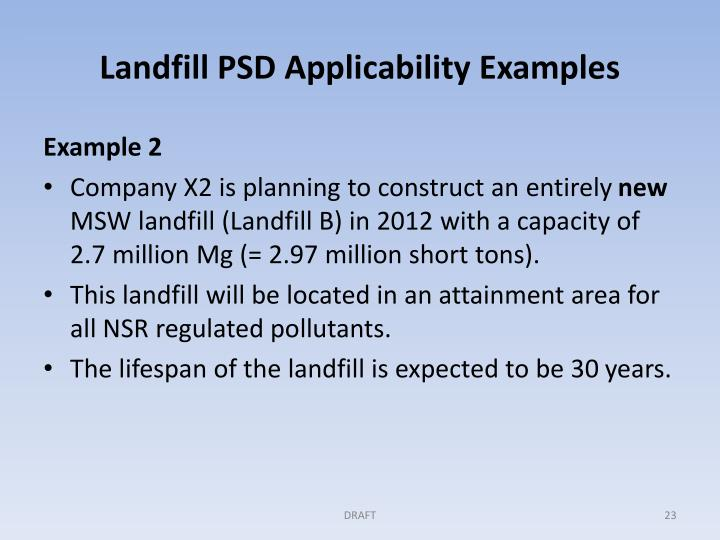 Landfill PSD Applicability Examples