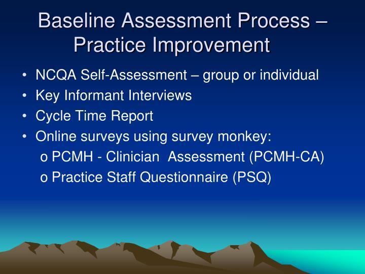 Baseline Assessment Process –