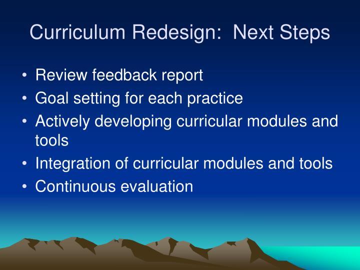 Curriculum Redesign:  Next Steps