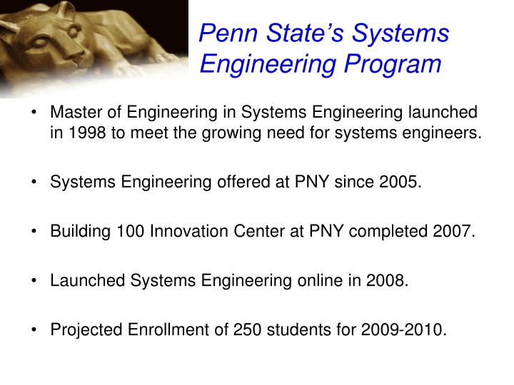 Penn State's Systems Engineering Program