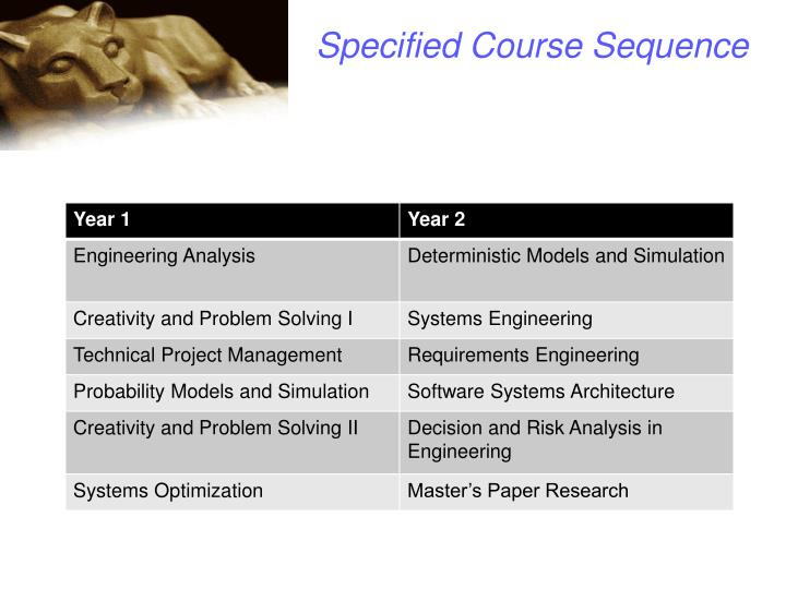 Specified Course Sequence