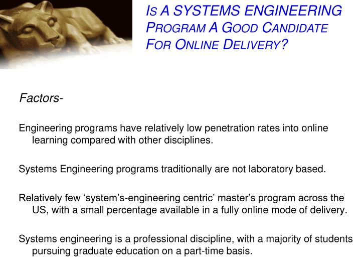 Is A SYSTEMS ENGINEERING Program A Good Candidate For Online Delivery?