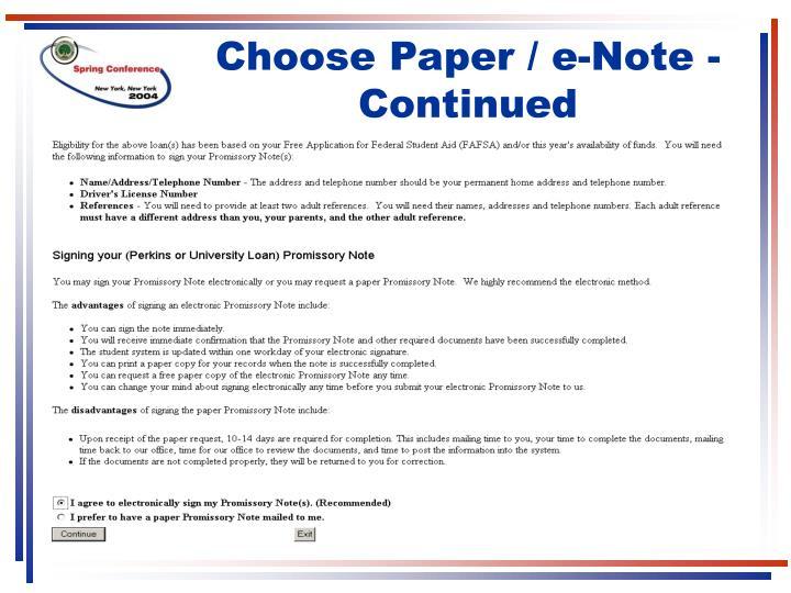 Choose Paper / e-Note - Continued