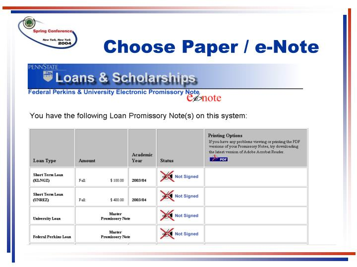 Choose Paper / e-Note