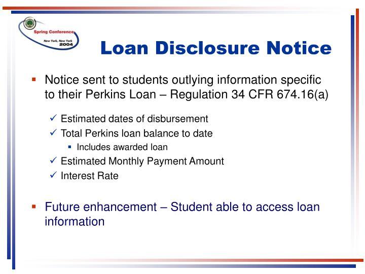 Loan Disclosure Notice