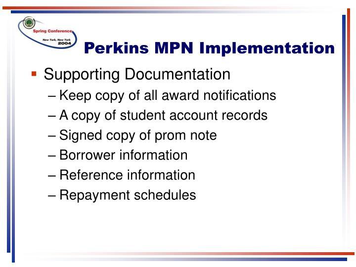 Perkins MPN Implementation