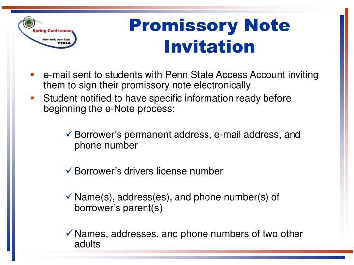 Promissory Note Invitation