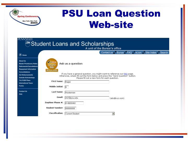 PSU Loan Question