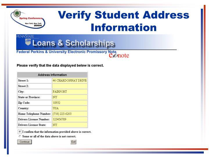 Verify Student Address Information