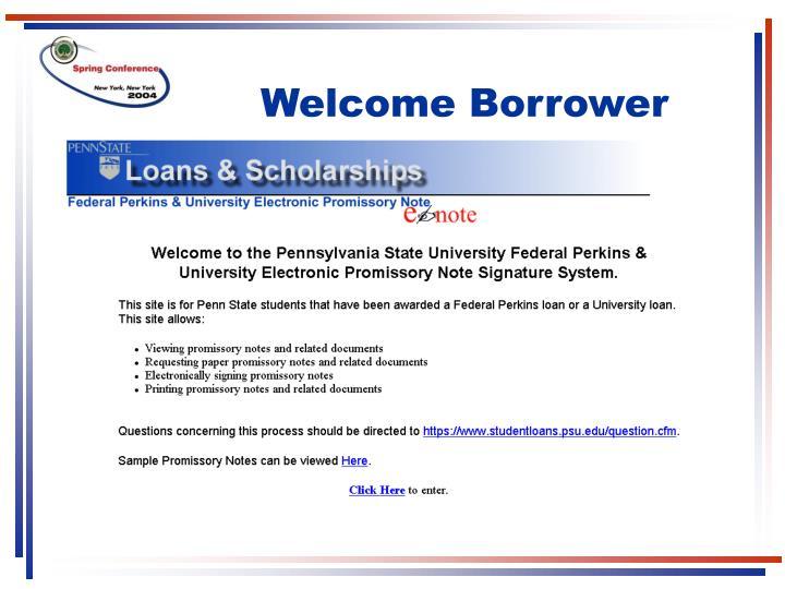 Welcome Borrower