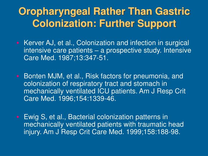 Oropharyngeal Rather Than Gastric Colonization: Further Support