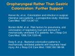 oropharyngeal rather than gastric colonization further support