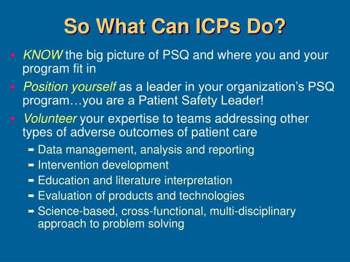 So What Can ICPs Do?