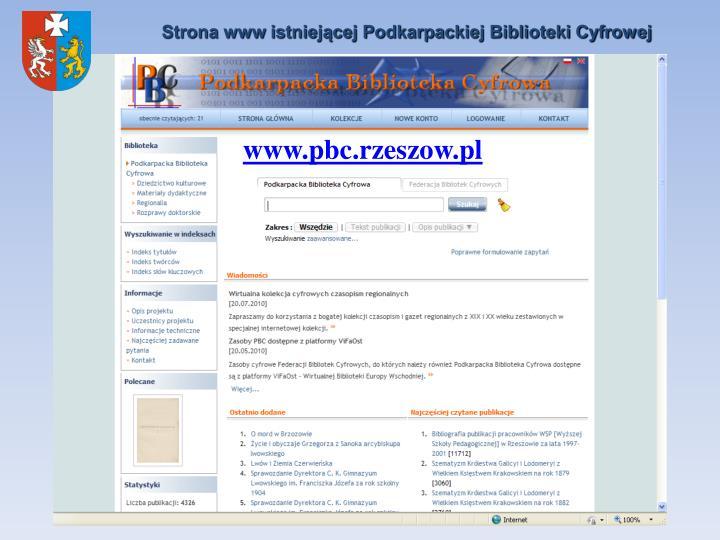 Strona www istniejącej Podkarpackiej Biblioteki Cyfrowej