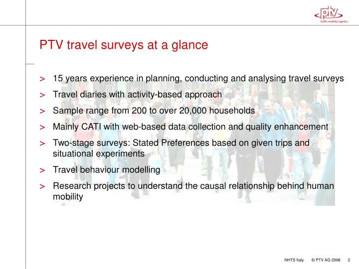 PTV travel surveys at a glance