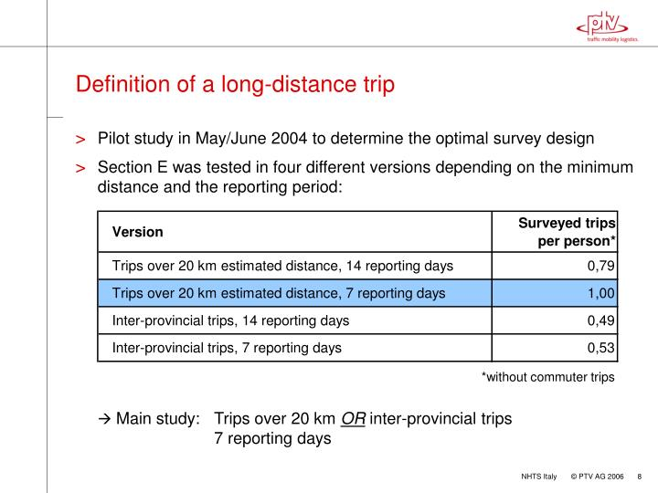 Definition of a long-distance trip