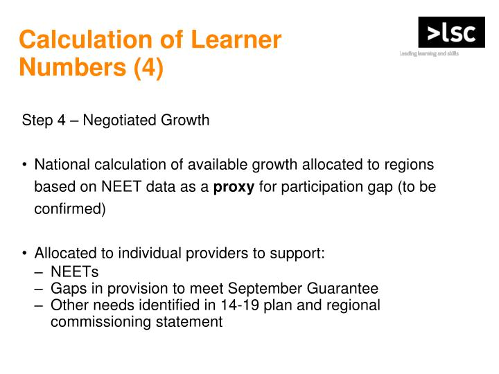 Calculation of Learner
