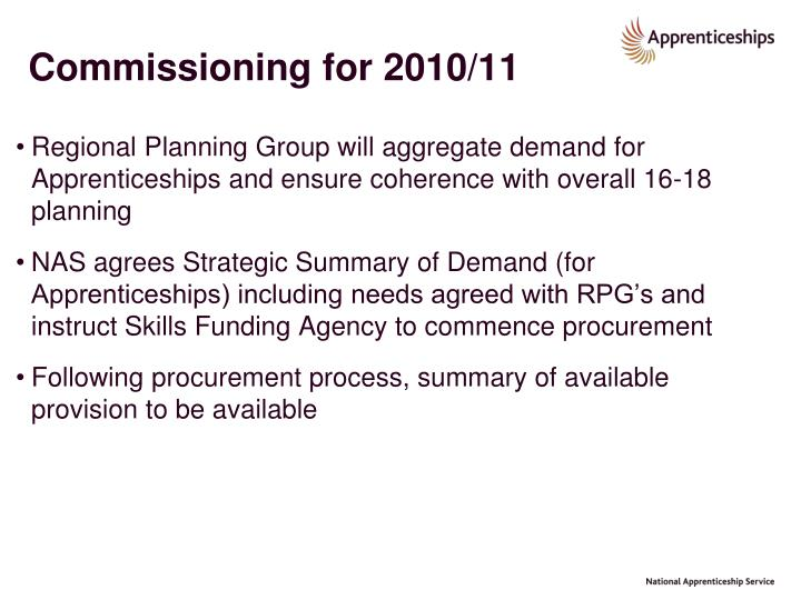 Commissioning for 2010/11