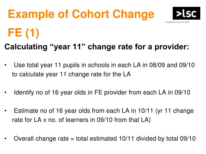 Example of Cohort Change