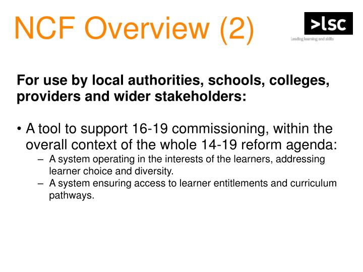 NCF Overview (2)
