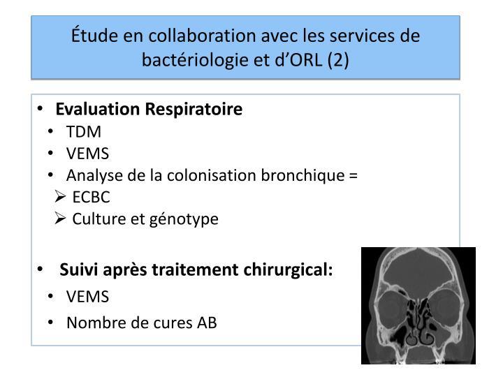 Étude en collaboration avec les services de bactériologie et d'ORL (2)