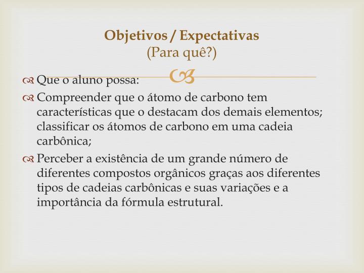 Objetivos / Expectativas