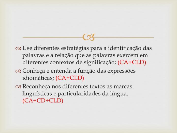 Use diferentes estratégias para a identificação das palavras e a relação que as palavras exercem em diferentes contextos de significação;