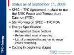 status as of september 11 2008