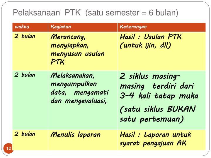 Pelaksanaan  PTK  (satu semester = 6 bulan)