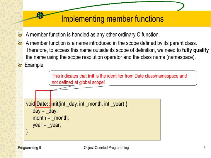 Implementing member functions