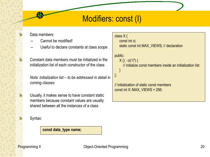 Modifiers: const (I)