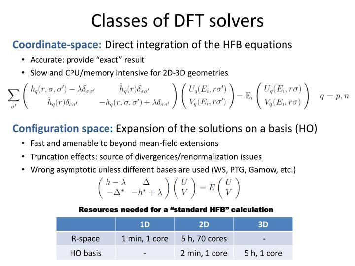 Classes of DFT solvers