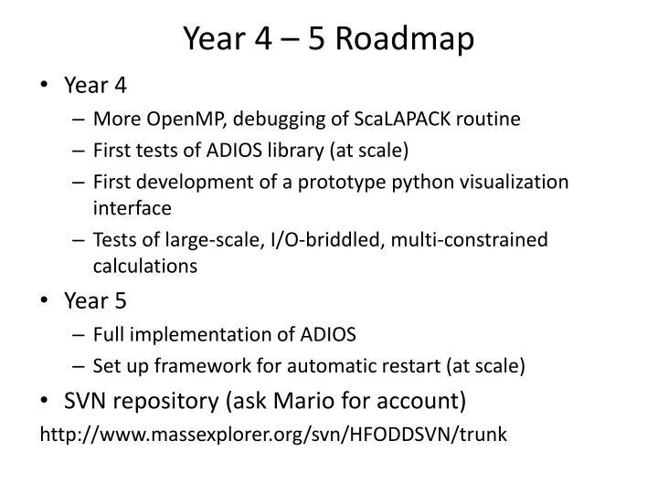 Year 4 – 5 Roadmap